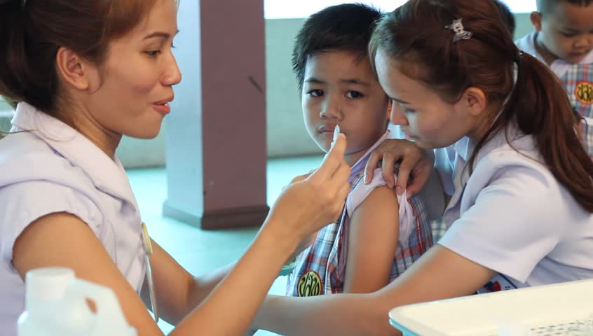 BANGKOK, THAILAND - July 14, 2015: Unknown children, Vaccinations for kid, student Elementary School. Bangkok Children's Discovery Museum 2015.