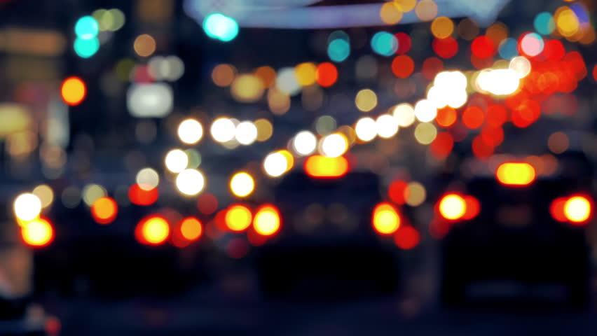 Bokeh street traffic in New York City, night