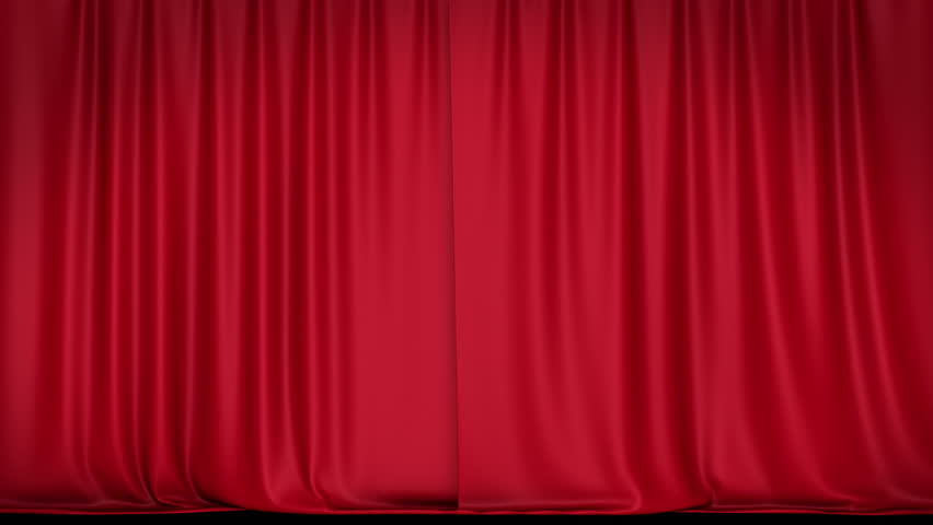 Opening red curtain. HD 1080. Alpha channel include.