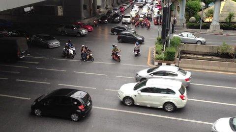 Bangkok,Thailand - July 19,2015 : Traffic in Sathorn Road,Bangkok,Thaland.