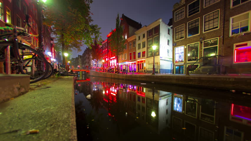 Amsterdam - March, 2012: Timelapse of a Red Light District in Amsterdam at night.