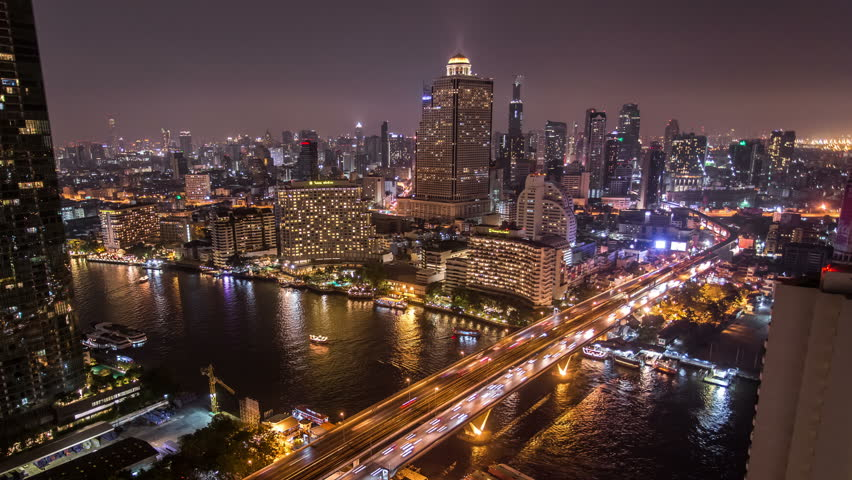 4K Timelapse Chaopraya river view, Bangkok, Thailand. Night scene.