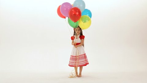 Little Girls Play with Balloons Stock Footage Video (100