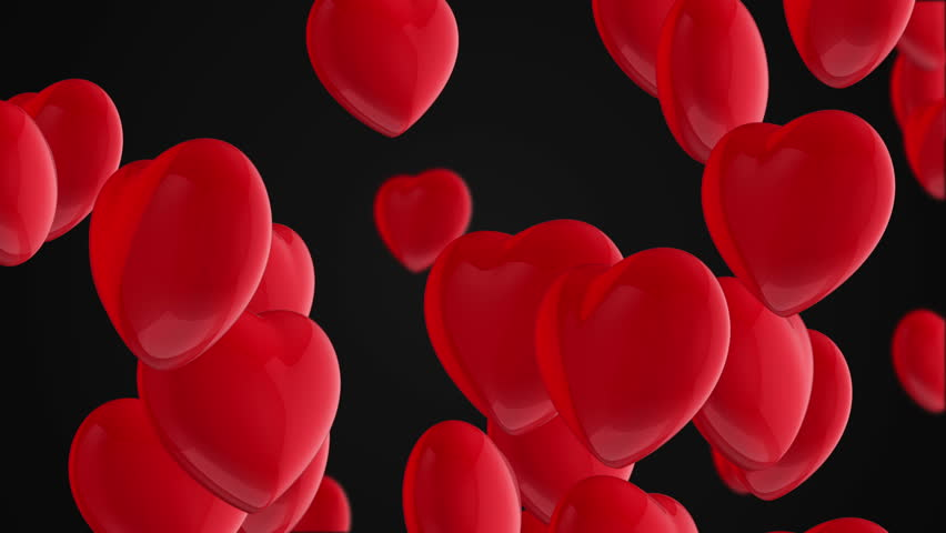 Animation flying of red glossy hearts. Abstract lovely background for Valentine's Day or movie about love and married. Animation of seamless loop. | Shutterstock HD Video #10865471
