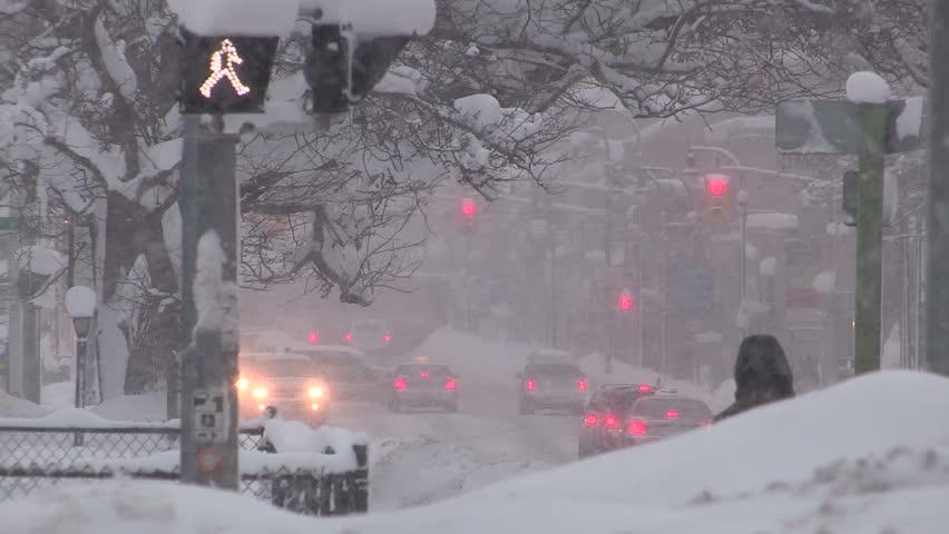 Owen sound, Ontario, Canada January 2015 Heavy snow storm in city