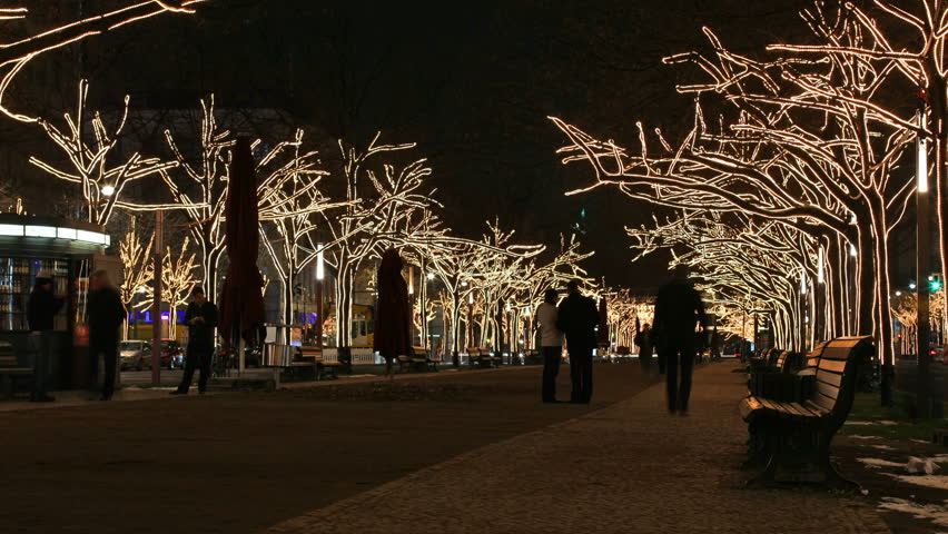 Peoples on boulevard with Christmas tree lights