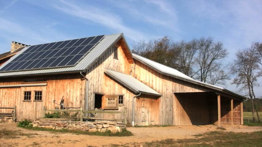Solar Panels on a Barn.