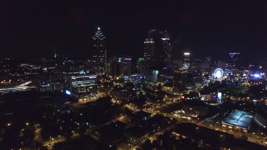 Aerial night video of Atlanta Georgia