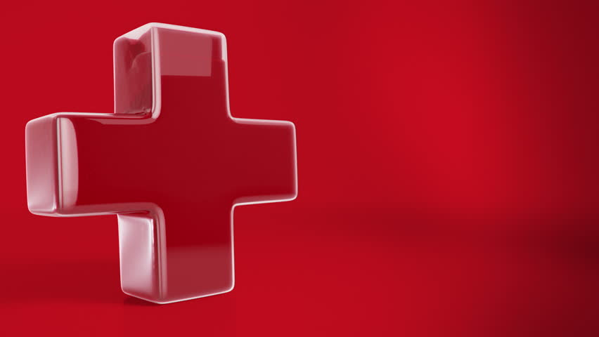 first aid cross symbol made of stylish glass and fill's with high resolution blood simulation full HD