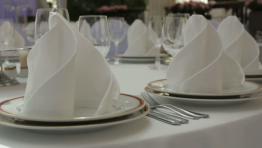 Beautiful Wedding Table Set Up,dolly Stock Footage Video