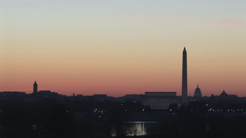 Sunrise over Washington D.C. with the Lincoln Memorial, Washington Monument and Capitol Building