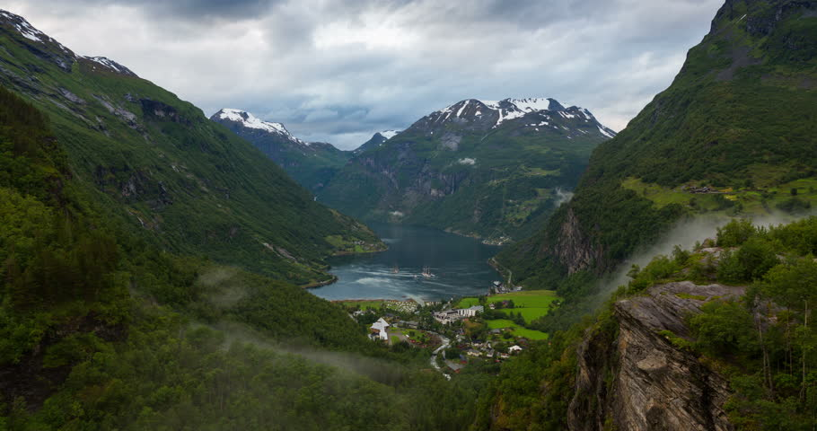 4K Norway Mountains And Fjord View - Clouds Time Lapse