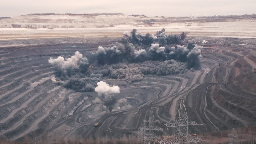Explosion rocks in a quarry. Mining.