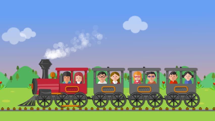 Clip 11198651 Stock Footage Kids On A Steam Train Animation on Preschool Clip
