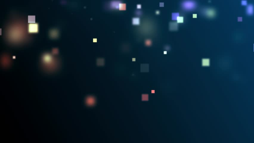 High quality royalty free stock footage and visuals featuring slow moving bokeh orb shaped and square particle motion backgrounds.