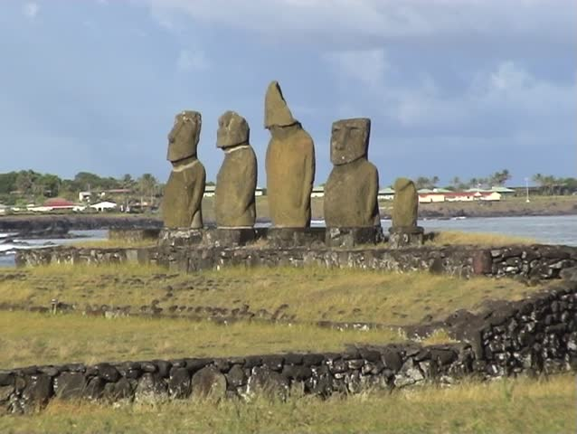 2-shots of Statues on Easter Island near Hanga Roa village.