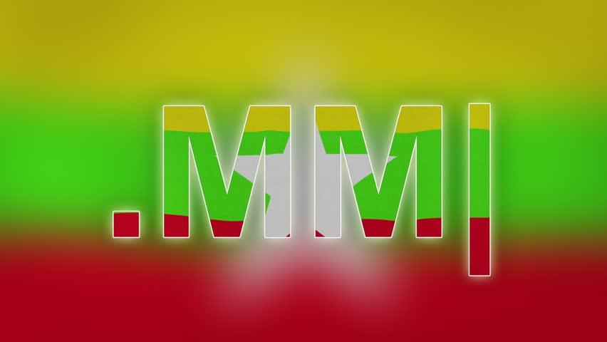 """MM - internet domain of Myanmar. Typing top-level domain """".MM"""" against blurred waving national flag of Myanmar. Highly detailed fabric texture for 4K resolution."""