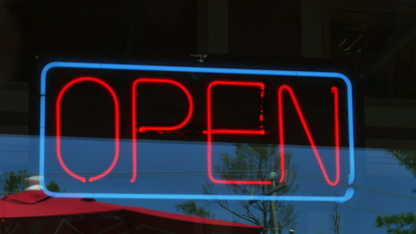 Glowing Open Sign On Restaurant Stock Footage Video (100% Royalty-free)  11265611 | Shutterstock