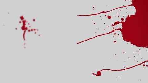 Series of quick scenes of blood spattering, trickling and dripping.