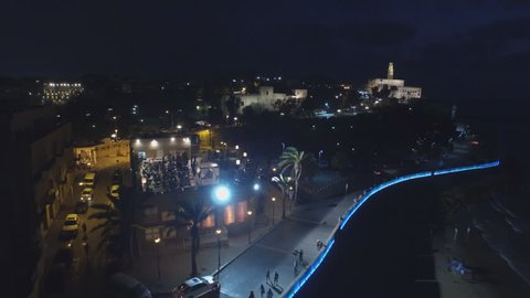 Aerial View of the old city of Jaffa in Tel Aviv at night