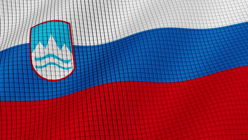 The flag of Slovenia is developing waves. Looped. Full HD 1080.