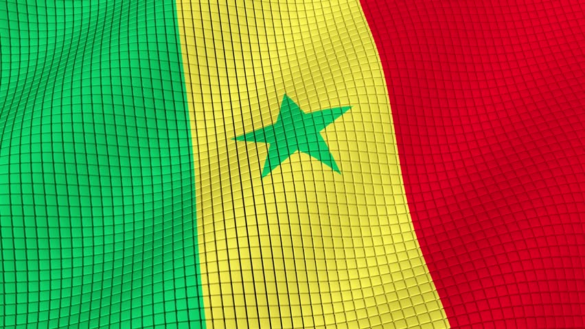The flag of Senegal is developing waves. Looped. Full HD 1080.