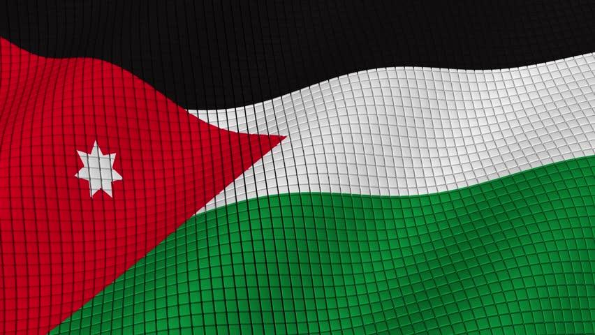 The flag of Jordan is developing waves. Looped. Full HD 1080.