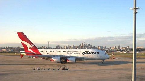 SYDNEY AUSTRALIA -CIRCA AUGUST 2015: a qantas airbus A380 leaving for takeoff in sydney, australia