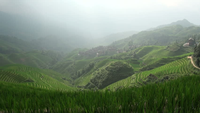 Scenic time lapse of Dazhai rice terraces.