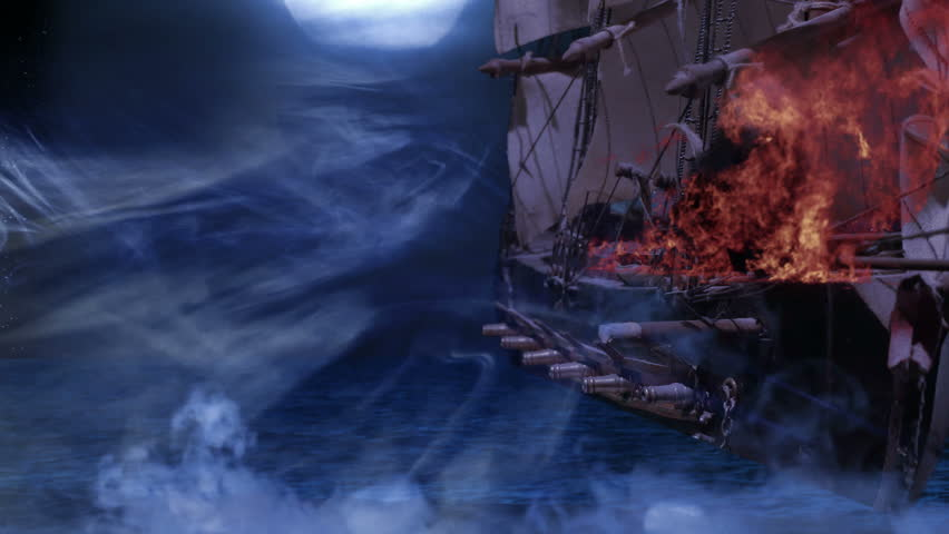 Two Fighting Pirate Colonial Sailboat with Firing Cannon Balls at War, 4K