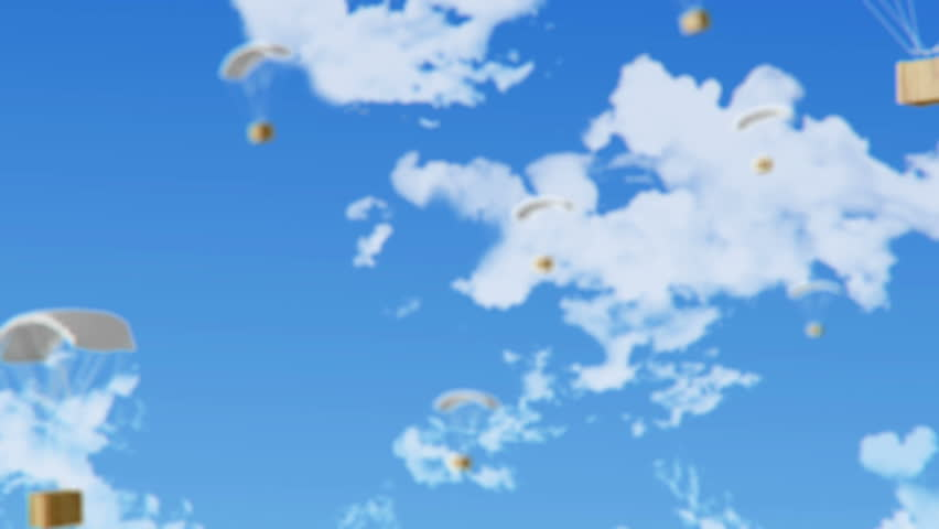 Animated parachute with wooden box in the sky.