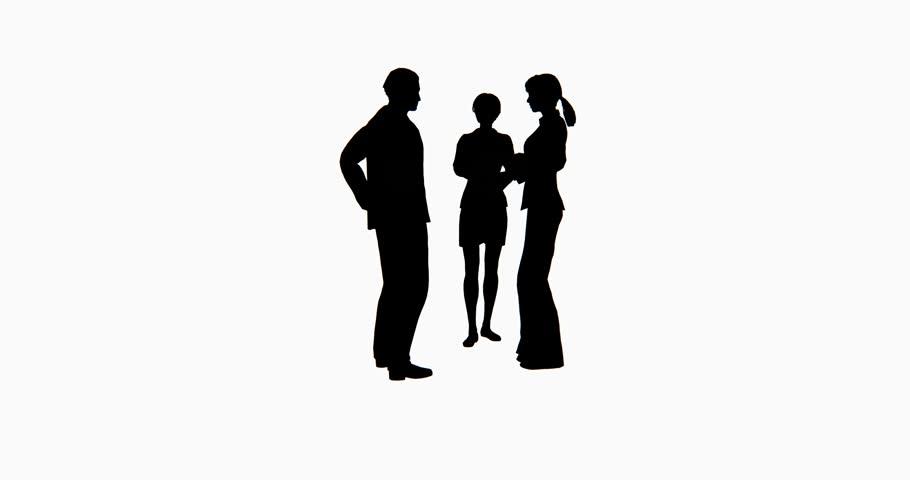 4k Business people silhouette talking. cg_02758_4k