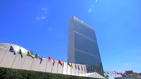 United Nations building headquarters NYC New York City skyscrapers tilt sunny summer day