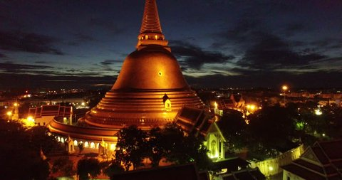 Aerial photograph Landmark Bird's-eye view Golden pagoda Phra Pathom Chedi of Nakhon Pathom province Asia Thailand