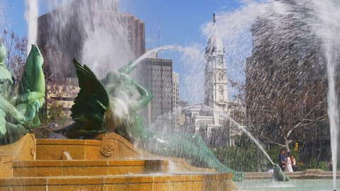 philadelphia summer day city hall logan square fountain view 4k usa
