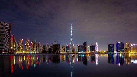 night dubai downtown water reflection panorama 4k time lapse uae