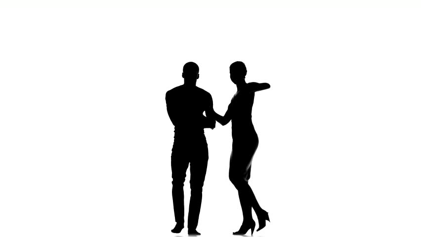 social latino dancers european girl and afro american man dancing isolated on white background silhouette