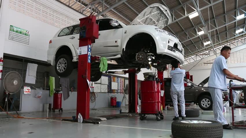 Sukhothai Aug 22 2015 Mechanic Repairing A Car At Mitsubishi