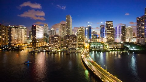 View from Brickell Key, a small island covered in apartment towers, towards the Miami skyline, Miami, Florida, USA - timelapse