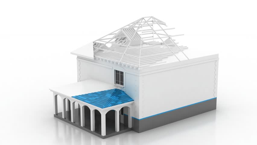Timelapse Of Construction Of The House. 3D Animation Of The Construction Of  The Building.