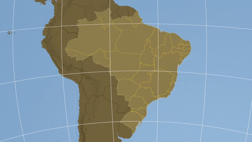 Santa Catarina Region Extruded On The Elevation Map Of Brazil With