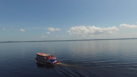 Aerial View of Boat on Amazon River, Manaus, Brazil