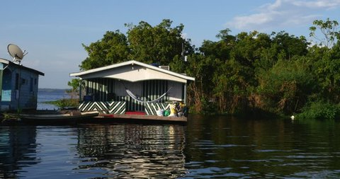 Floating houses in Manaus, Amazon, Brazil