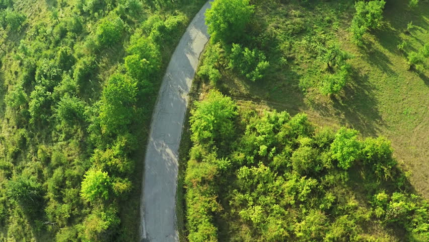 AERIAL view. Flight over forest road in mountains  #11671961