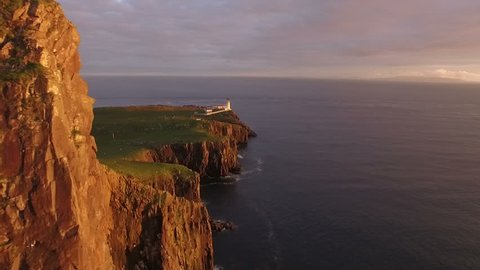 Beautiful aerial shot of Neist point on west coast of the Isle of Skye during an incredible sunet