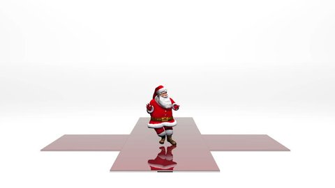 A red Christmas present box unfurls to reveal Santa character dancing, he dances, then stops and waves to camera.