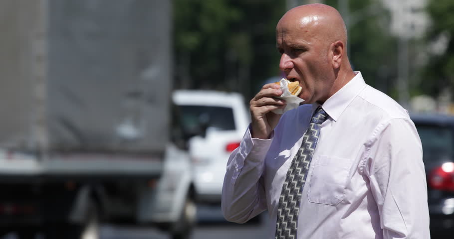 City Center Lunch Break Middle Day Outside Office Room Businessman ...