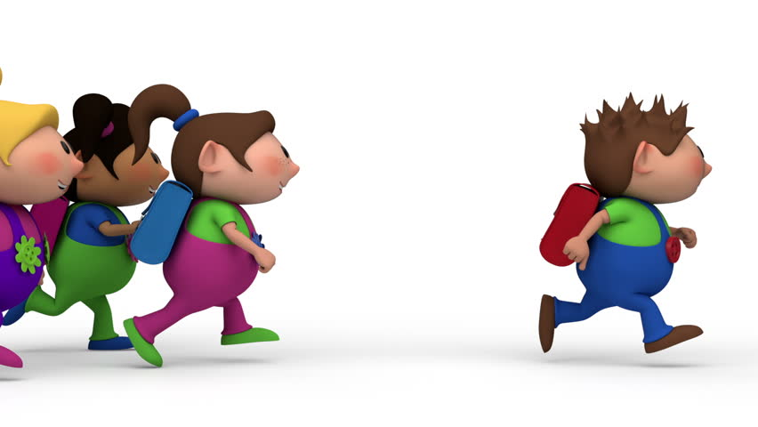 school kids running across the screen - three girls chasing a boy - back to school concept - loopable