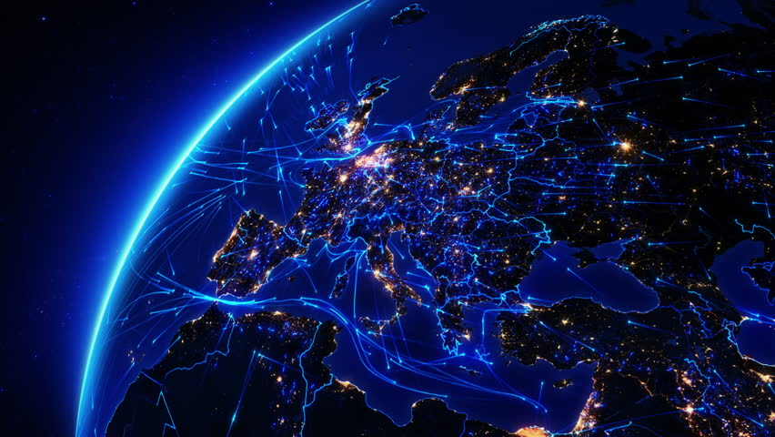 Netherlands map royalty free stock video in 4k and hd shutterstock 4k0030earth bright connections and city lights europe aerial maritime ground routes and country borders blue images courtesy of httpnasa gumiabroncs Image collections