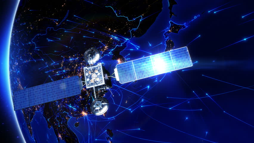 Satellite sending signals to Earth. Japan. Animation of the Earth with bright connections and city lights. Aerial, maritime, ground routes and country borders. Asia. 2 shots in 1 file. Blue.